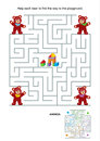 Maze game for kids teddy bears or activity page help each bear to find the way to the playground answer included Stock Photos