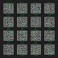 Maze Game Logo. Labyrinth with Entry and Exit.