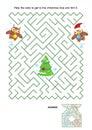 Maze game - owls trim the christmas tree