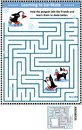 Maze game with penguins learning to ice skate