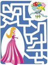 Maze Game: Princess and flowers Stock Photography