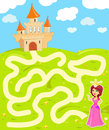 Maze game with princess funny the beauty find the way to her castle Stock Photography