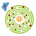 Maze game vector illustration of for kids with butterfly and ladybugs Royalty Free Stock Photos