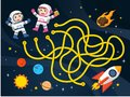 Maze games find the path for Astronaut with space and spaceship theme collection.