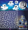 Maze 3 with ghosts and haunted house Royalty Free Stock Photo