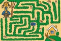 Maze girl lost in woods Royalty Free Stock Photo