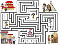 Maze illustration of with different people Royalty Free Stock Photos