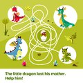 Maze labyrinth children game cartoon illustration of dragons help find way to child egg on tangled way