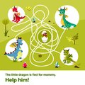Maze labyrinth children game vector cartoon illustration of dragons help find way to child egg on tangled way