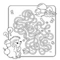 Maze or Labyrinth Game for Preschool Children. Puzzle. Tangled Road.