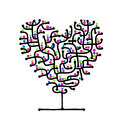 Maze of love heart shape tree for your design this is file eps format Stock Photography