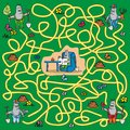 Maze mole a game for children and adults moles looking for the right way for a friend Stock Photos