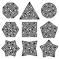 Maze nine different mazes on white background Royalty Free Stock Photography