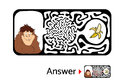 Maze puzzle for kids with monkey and banana. Labyrinth illustration, solution included. Royalty Free Stock Photo