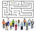 Maze puzzle strategy direction strategy challenge concept Stock Images