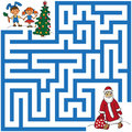 Maze of Santa Claus and Christmas tree Royalty Free Stock Photo