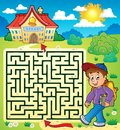 Maze with schoolboy eps vector illustration Royalty Free Stock Photos