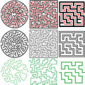 Maze Set of 3 puzzle variations with solutions Stock Image