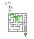 The maze and the solution joe has a he wants to get through Royalty Free Stock Photo