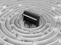 Maze to piano image of in Stock Image