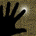 Maze touch illustration of a hand touching part of a Royalty Free Stock Photography