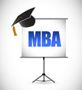 Mba education graduation presentation board illustration design Stock Photography