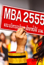 Mba graduate sign in the university Royalty Free Stock Photos