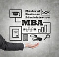 Mba scheme hand holding drawing close up Royalty Free Stock Image