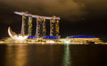 Mbs marina bay sands night times Royalty Free Stock Image