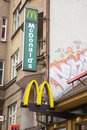 Mc donalds restaurant poznan poland february electric sign of a fast food Stock Photos
