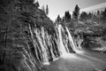 Mcarthur burney falls in northern california mc aurthur the mt sastha region black and white Royalty Free Stock Image