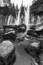 Mcarthur burney falls in northern california mc aurthur the mt sastha region black and white Stock Images