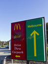 McDonalds drive through and carpark entry signs Royalty Free Stock Images