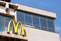Mcdonalds sign on a building built in socialist realism style Royalty Free Stock Photography