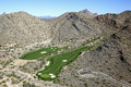 Mcdowell mountains golf greens in the scottsdale arizona Royalty Free Stock Image