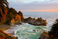 Mcway falls in big sur at sunset california Royalty Free Stock Images