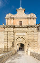 Mdina entrence gate in malta the medieval gateway to the silent city of Royalty Free Stock Photo