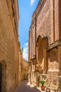 Mdina street in beside the carmelite priory musem Stock Photo