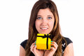 For me closeup of woman holding yellow gift box with black bow Royalty Free Stock Images