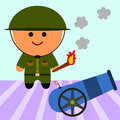Me and my cannon illustration of a soldier about to fire a Royalty Free Stock Photos