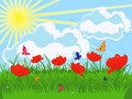 Meadow in early summer red flowering poppies and green grass against the sky with sun and clouds hand drawing vector illustration Royalty Free Stock Image