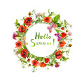 Meadow flowers - poppy, summer grass. Floral round wreath. Watercolor Royalty Free Stock Photo