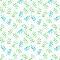 Meadow flowers, spring grass. Cute ditsy repeating pattern. Watercolor Royalty Free Stock Photo