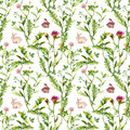 Meadow flowers, tiny rabbits. Seamless pattern. Watercolor