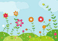 Meadow of flowers,vector  Royalty Free Stock Images