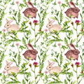 Meadow grass, flowers, rabbits. Seamless pattern. Watercolor Royalty Free Stock Photo