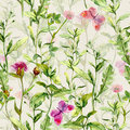 Meadow grass, herb, flowers with butterflies. Watercolor repeating pattern Royalty Free Stock Photo