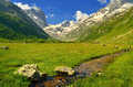 Meadow in mountains this is green valley caucasus Stock Photo