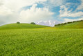 Meadow peaceful landscape with hills mountains and sky Royalty Free Stock Photos