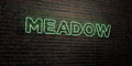 MEADOW -Realistic Neon Sign on Brick Wall background - 3D rendered royalty free stock image